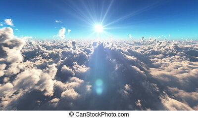 fly over clouds above sun ray