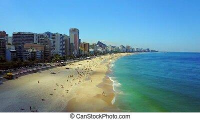 Fly over Ipanema Copacabana Beach in Rio de Janeiro Brazil