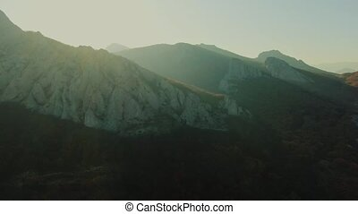Fly Over Majestic Mountain Peaks Golden Hour