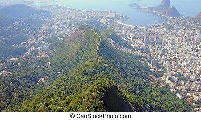 Fly over Mountains of Rio de Janeiro Brazil