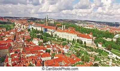 Fly over Prague. Czech Republic. - Area Lesser Town of...