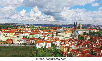 Fly over Prague. Czech Republic. - Area Lesser Town of...