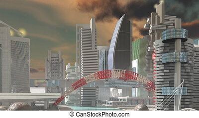 Fly over Sci-fi city - HD Fly over 3d Model of Sci-Fi city...