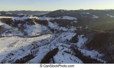 fly over snow winter landscape. aerial