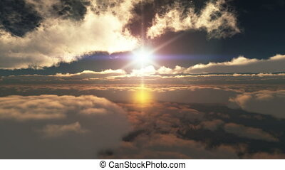 fly over sunset clouds