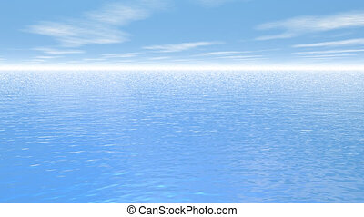 Fly over the ocean - 3D render