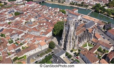 Aerial view of the city of Saintes and Saint Peters Basilica. France