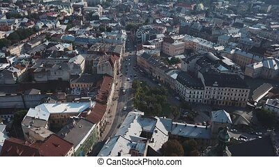 Fly over the streets of a beautiful European city Lviv