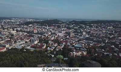 Fly over the streets of a beautiful European city Lviv.
