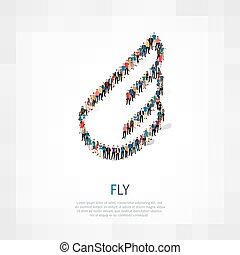 fly people symbol - Isometric set of styles, fly , web...