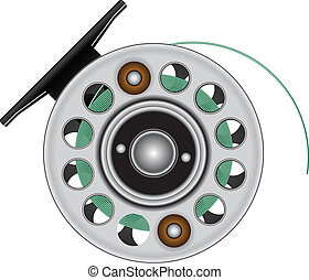 Fly reel with fishing line. Vector illustration.