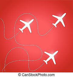 fly routes and airplanes. illustration design over a red...