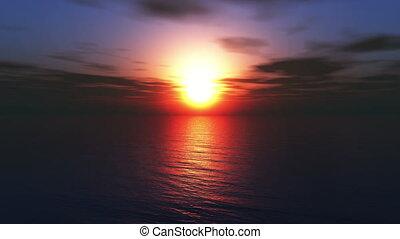 fly sunset ocean 4k
