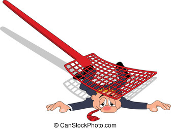 Fly Swatter - A businessman flattened by fly swatter