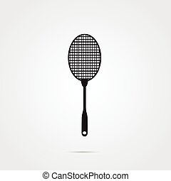 Fly swatter icon black and white, gray scale background