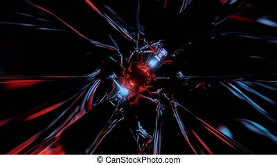 Fly thorugh loopable abstract colorful VJ tunnel in blue and red color. Future, speed, big data animation. 3D rendering