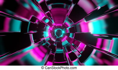 Fly through abstract colorful neon VJ tunnel. Future, speed, big data animation. 3D rendering