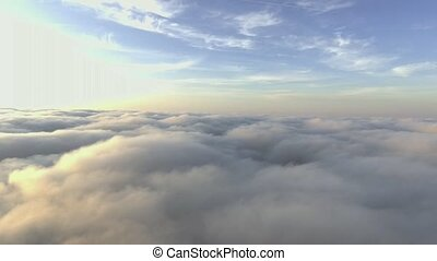Fly through clouds. Low light cloudscapes. - Fly through...