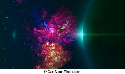 Fly through Galaxy. Space background - Space Nebula