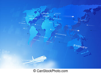 Fly Through Sky - aviation background with many planes over...