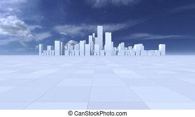 Fly through white city