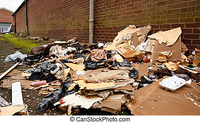 fly tipping of refuse - general building waste dumped in...
