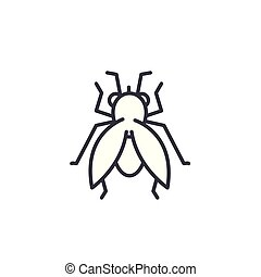 fly vector line icon, sign, illustration on background, editable strokes