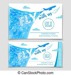 Fly with us. Airline brochure flyer template set, watercolor hand-lettering design