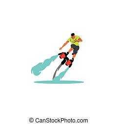 flyboarding, man., vettore, illustration.