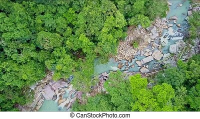 Flycam Moves Close to River among Thick Tropical Jungle -...