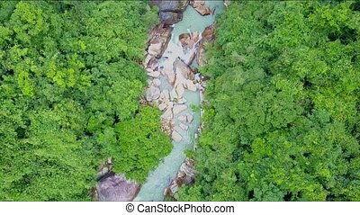 Flycam Moves High above Narrow River in Tropical Rainforest...