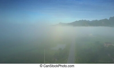 flycam rises above road disappearing in morning fog - flycam...