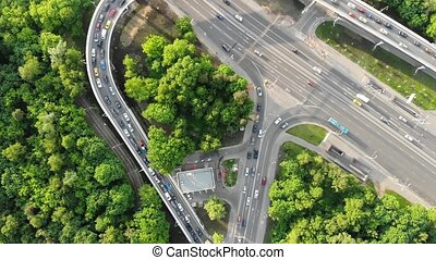 flycam shows convenient road junction with morning jam -...