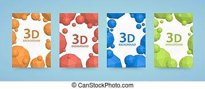 Flyer 3d balls polygons cover color art.