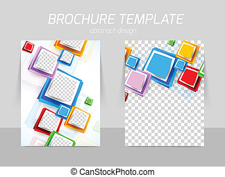 Flyer back and front template design with colorful squares