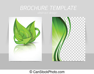 Flyer back and front template design with leaves in green...