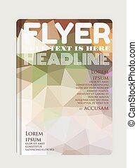 flyer / brochure design template with geometric hi-tech background