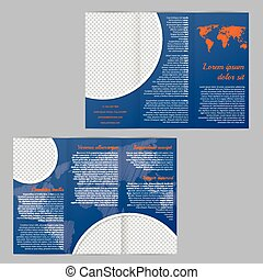 Flyer brochure template design with world map and photo container