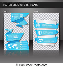 Flyer brochure template - Blue origami business corporate...