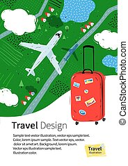 Flyer design with red travel bag