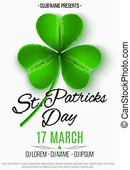 Flyer for a Happy Saint Patrick's Day party. Green clover with pattern. White background. Invitation to the club, bar. Vector illustration