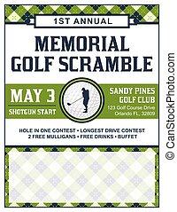 flyer, golf, toernooi, mal