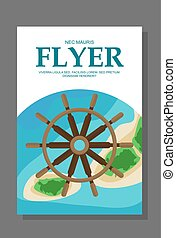 Flyer in flat style with a map of the island to travel and vacation on  yacht. Vector