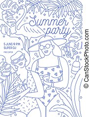 Flyer, invitation or poster template for summer party with smiling women in swimwear holding fresh tropical drinks drawn with contour lines on white background. Monochrome vector illustration.