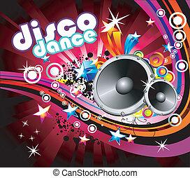 flyer, kleurrijke, achtergrond, disco