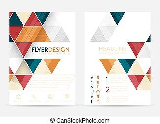 flyer, ontwerp, met, geometrisch, pattern., collectief,...