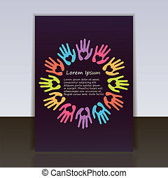 flyer or cover vector template with unity concept from hands...