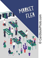 Flyer or poster template for flea market or rag fair with people selling design and fashion goods, vinyl records, accessories, trendy clothing. Colorful vector illustration in flat cartoon style