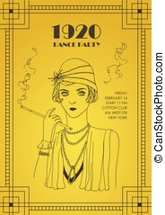 Flyer or poster template with flapper girl dressed in retro clothing, holding cigarette holder and smoking on yellow background. Vector illustration for party invitation in style of roaring twenties.