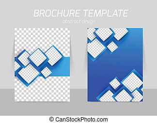 Flyer template back and front design with blue squares